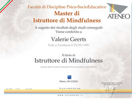 Attestato Istruttrice Mindfulness