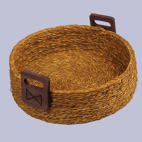 Golden Yellow Sabaii Grass Round Kitchen Basket