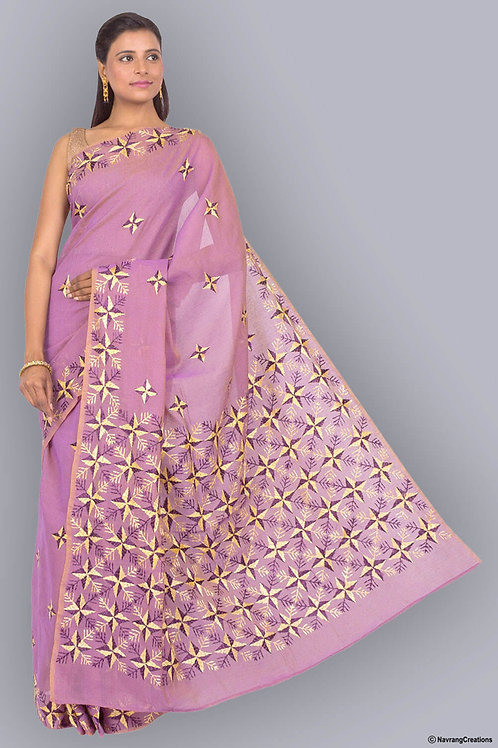 Chanderi Cotton Mauve Handcrafted Phulkari Saree