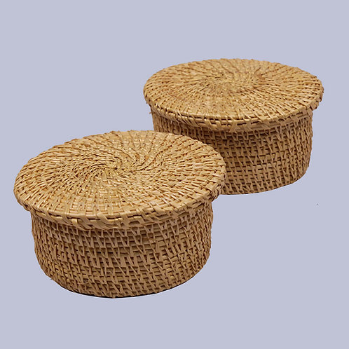 Golden Grass Natural Round Gift Box (Set Of 2) – 4 Inches