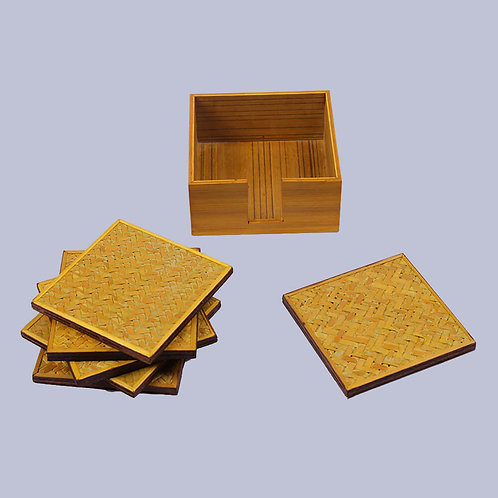 Yellow Bamboo Square Coasters (Set Of 6)