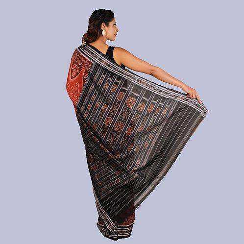 Tasarite Rust Handwoven Odisha Ikat Cotton Saree With Zari Border & Pallu