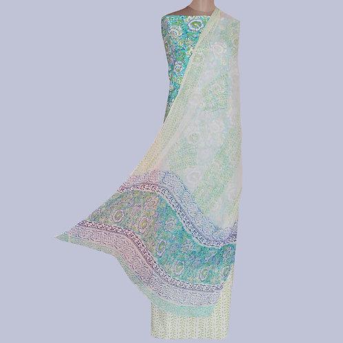Blue & Green Hand Block Printed Cotton Suit Fabric & Chiffon Dupatta (Set Of 3)