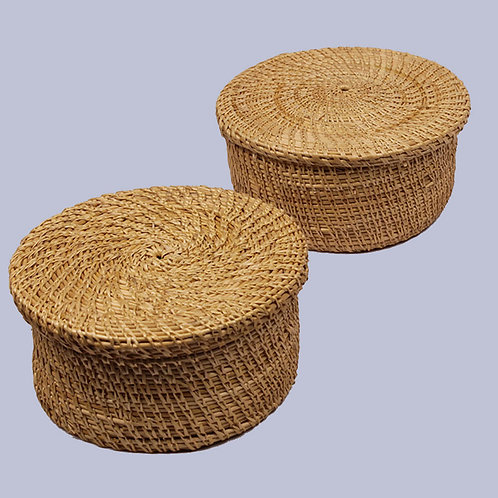 Golden Grass Natural Round Knick Knack Box (Set Of 2) – 6 Inches