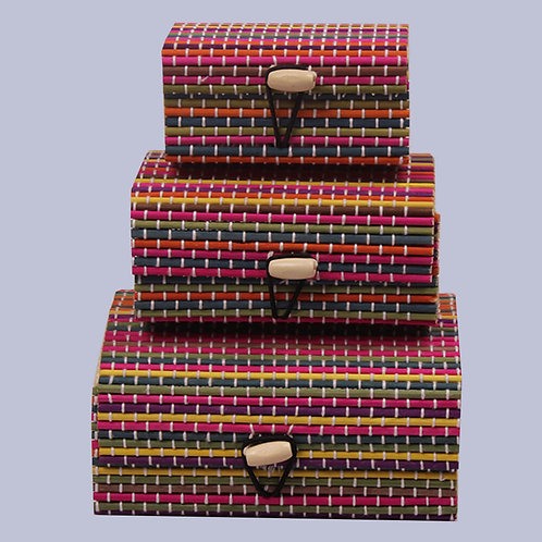 Multicolour Rectangular Wood Gift Box (3 In 1)