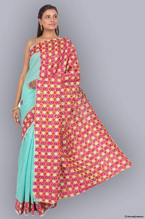Light Green Chandheri Cotton Handcrafted Phulkari Saree