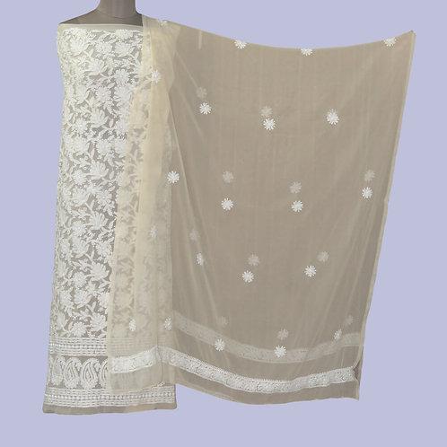 Cream Chikan Georgette Suit Fabric (Set Of 3)