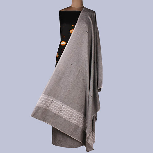 Black Grey Handwoven Bomkai Cotton Suit Fabric (Set Of 3)
