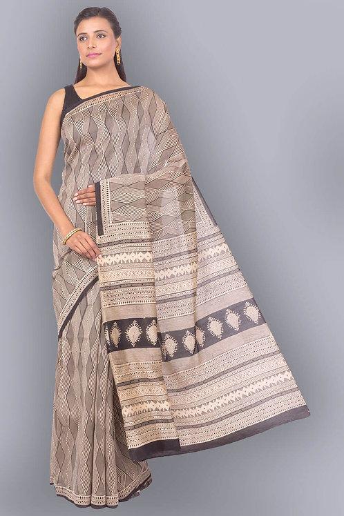 Bagru Hand Block Printed Grey And Black Chanderi Cotton Saree