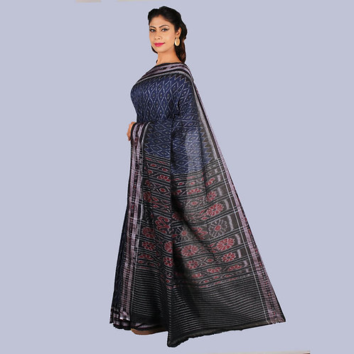 Deep Blue-Black Handwoven Odisha Ikkat Cotton Saree With Zari Border & Pallu