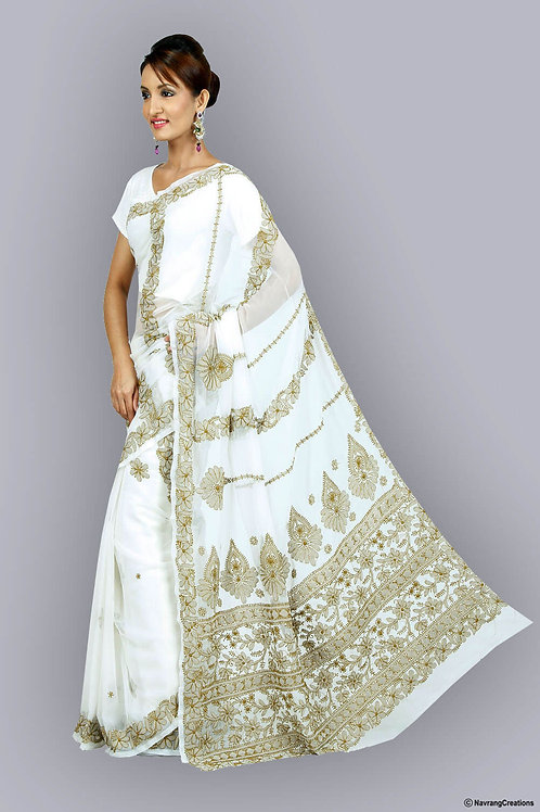 White Georgette Saree With Heavy Olive Green Chikan Chadi Work