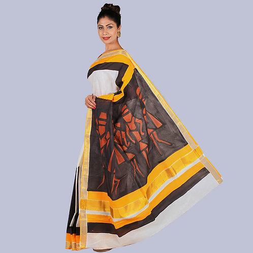 Beige-Golden Hand Painted Kerala Cotton Saree