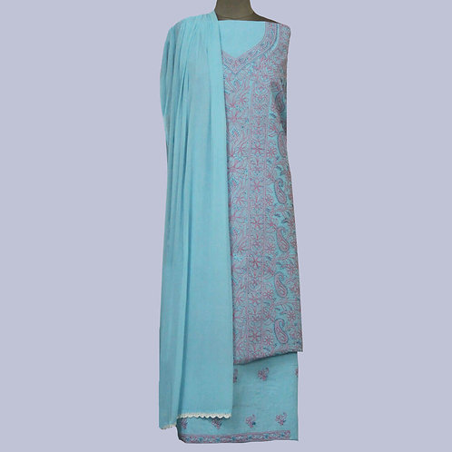 Blue-Pink Chikan Cotton Suit Fabric (Set Of 3)