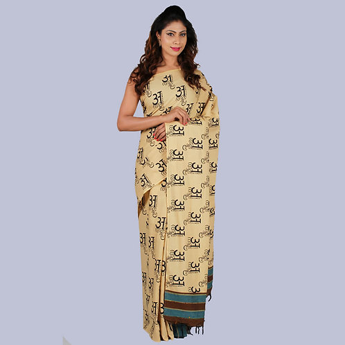 Beige-Blue Kalamkari Khes Designer Saree