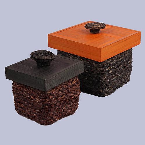 Orange Brown Sabaii Grass & Bamboo Knick Knack Box (Set Of 2)