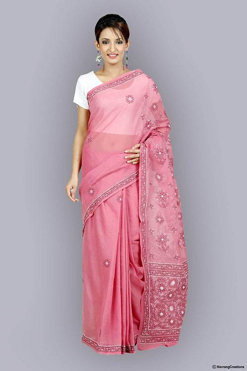 Mauve Cotton Saree With Heavy Chikan Work On Pallu