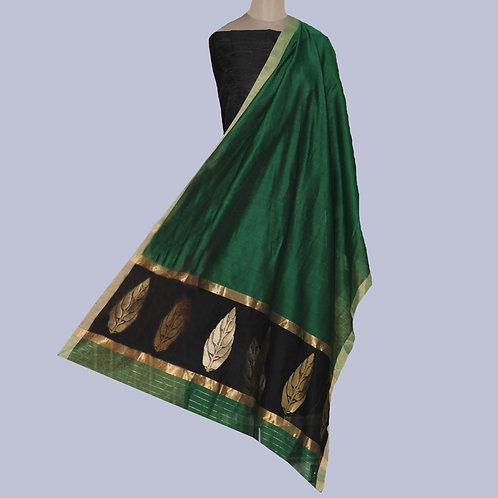 Green & Black Handwoven Chanderi Cotton Silk Suit Fabric (2 Piece)