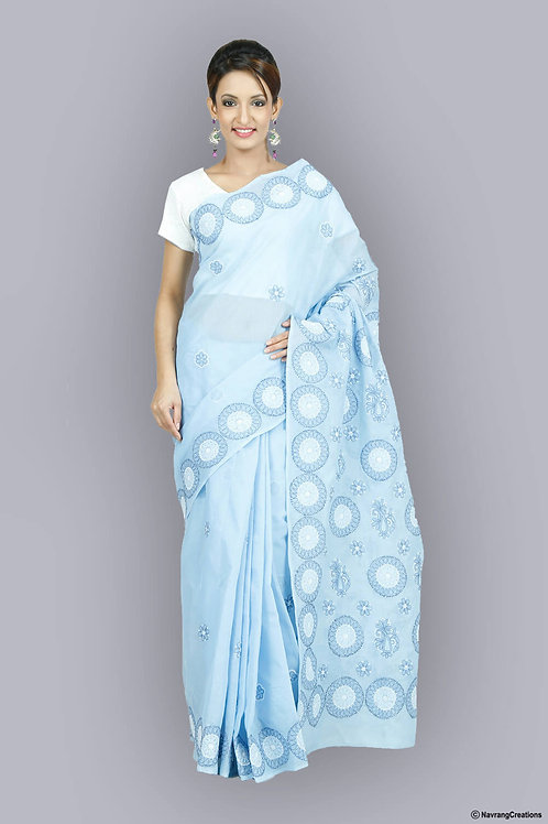 Sky Blue Cotton Chikan Saree With Heavy Gola Work