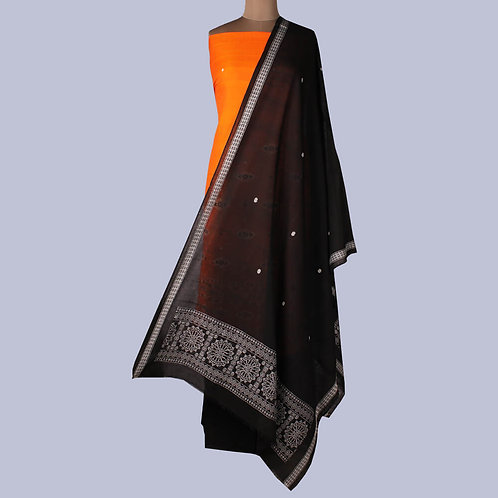 Elaborately Woven Orange Black Bomkai Cotton Suit Fabric (Set Of 3)