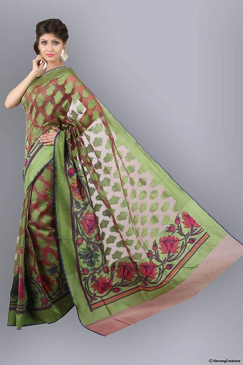 Pink And Green Coloured Handwoven Banarasi Tissue Saree