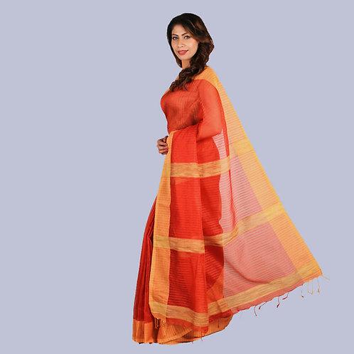 Orange-Rust Stripes Handwoven Cotton Silk Saree