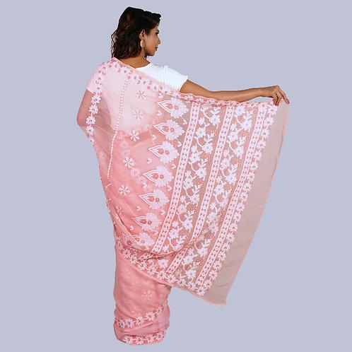Baby Pink Georgette Chikan Saree