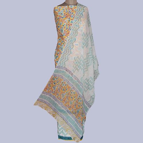 Yellow & Blue HandBlock Printed Cotton Suit Fabric & Chiffon Dupatta (Set Of 3)