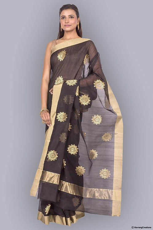 Black Handwoven Chanderi Cotton Silk Saree With All Over Large Gold Boti Work