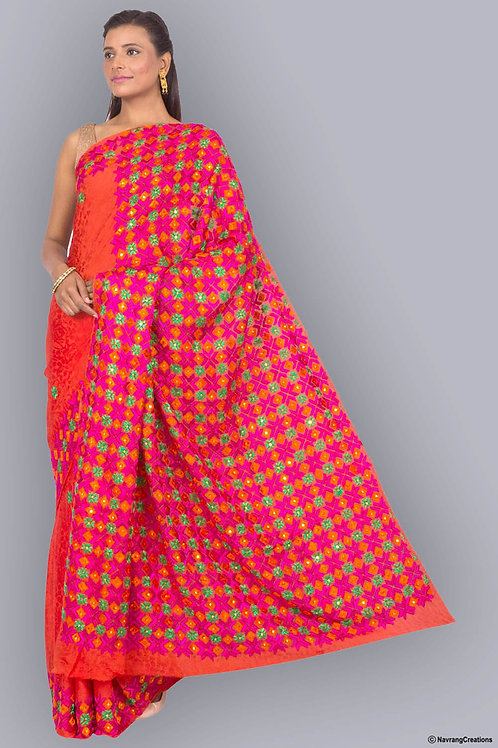 Semi Crepe Rust Handcrafted Phulkari Saree