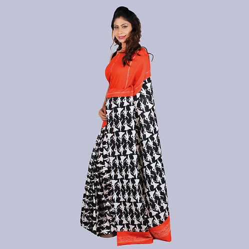 Orange-Black Kalamkari Khes Designer Saree