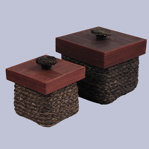 Brown Black Sabaii Grass & Bamboo Knick Knack Box (Set Of 2)