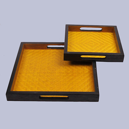 Brown Bamboo Square Tray (Set Of 2)