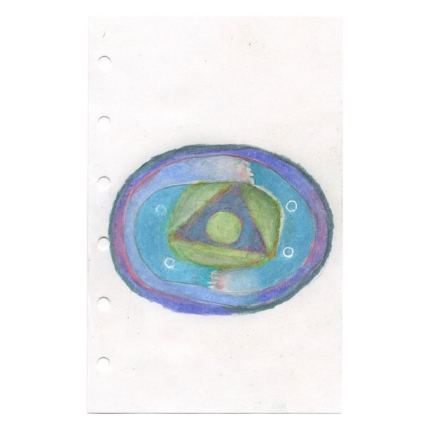 untitled, 2020, colored pencil on paper, 3.1 x 4.9 in