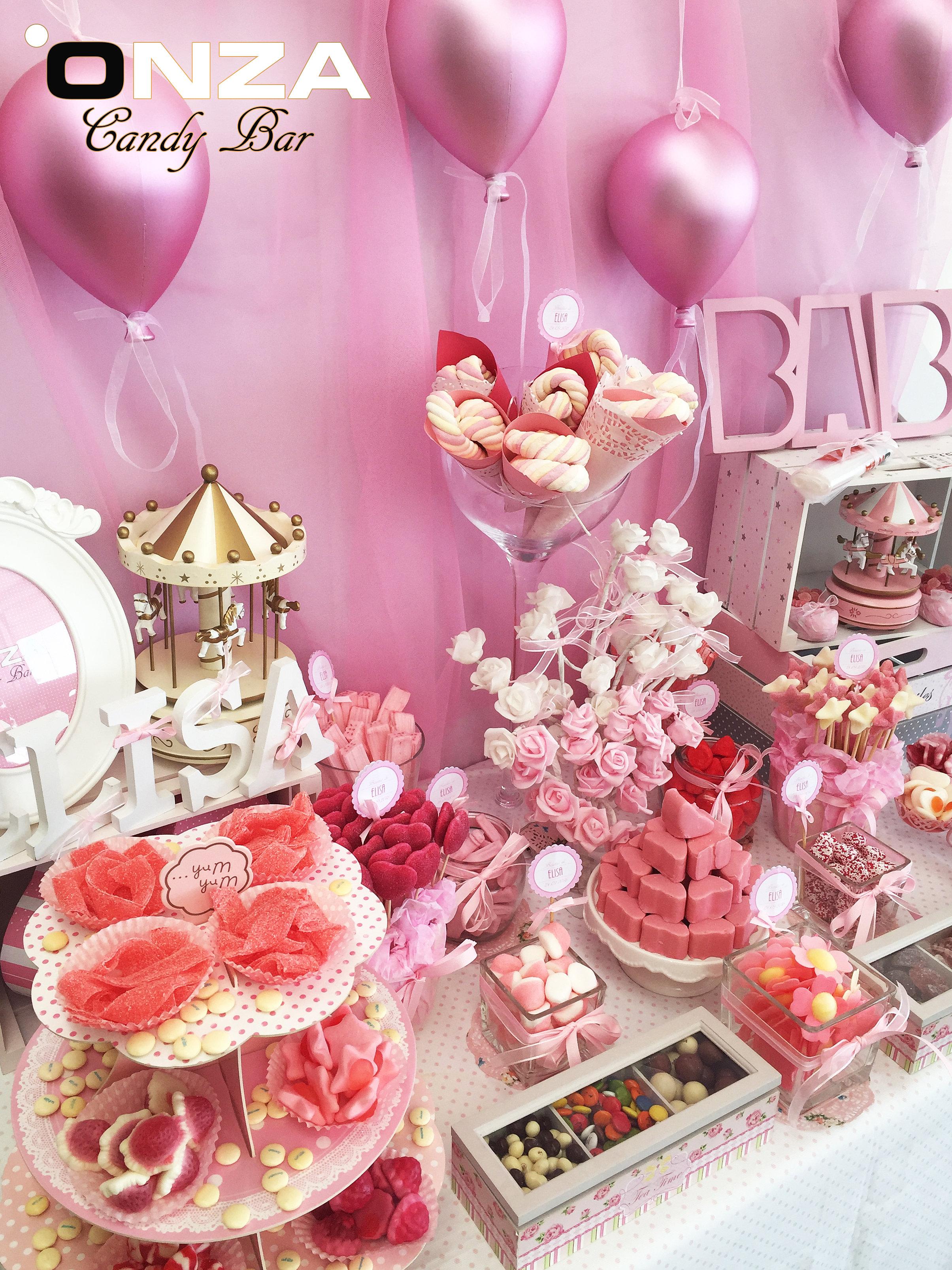 Onza candy bar tartas de chuches mesas dulces - Decoracion chuches para cumpleanos ...