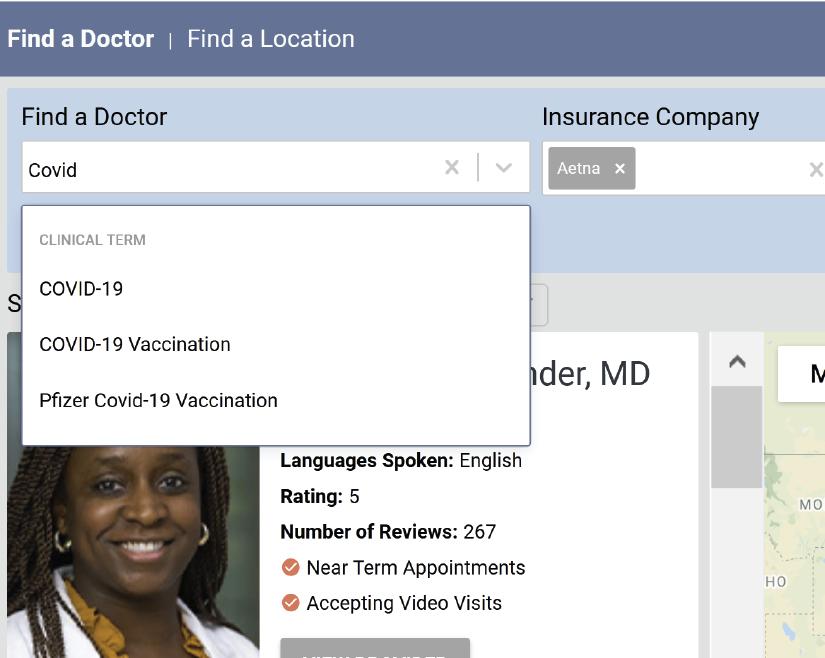 modern find a doctor website