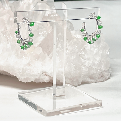 Green Emerald Mini Hoops