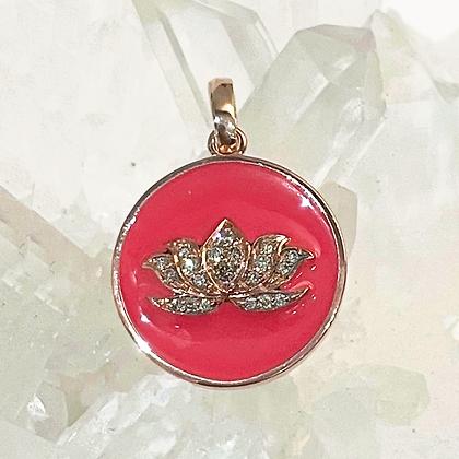 Red Lotus Enamel Charm