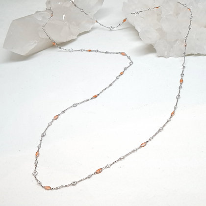 Coral and White Topaz Rosary Chain Necklace