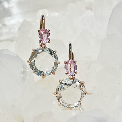 White Topaz and Pink Sapphire Earrings