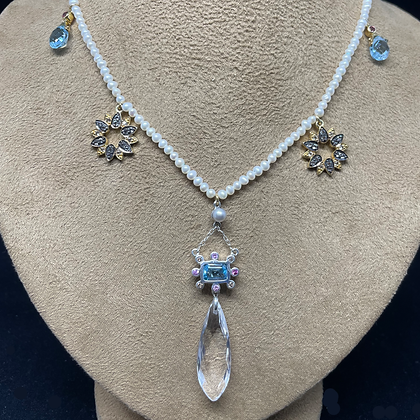 Blue Topaz and Pink Sapphire Necklace