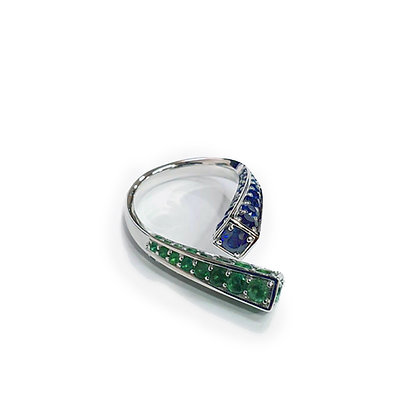 Open Emerald and Sapphire Ring
