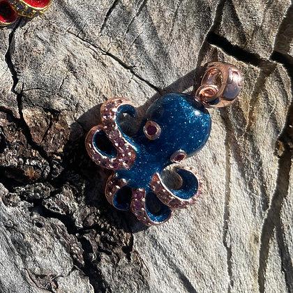 Blue Enamel Octopus Charm