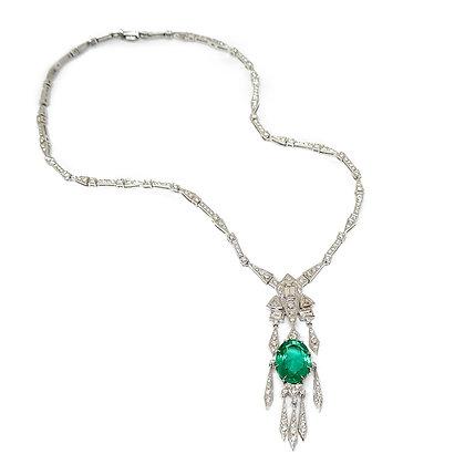 Dangling Zambian Emerald Necklace