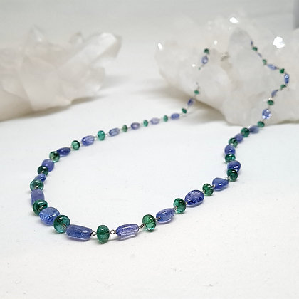 Tanzanite and green emerald beads rosary chain necklace