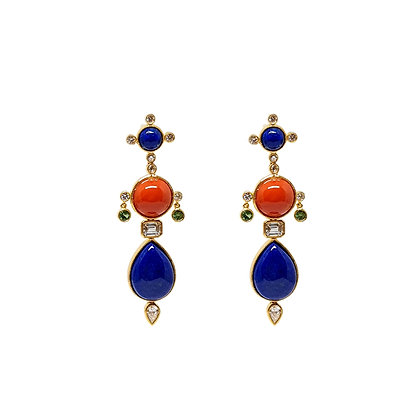 Lapis Lazuli and Coral Earrings