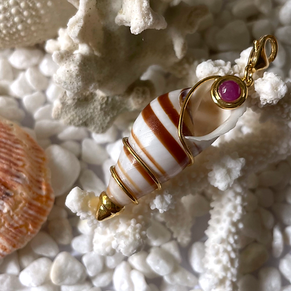 Cream and Brown Long Shell Charm