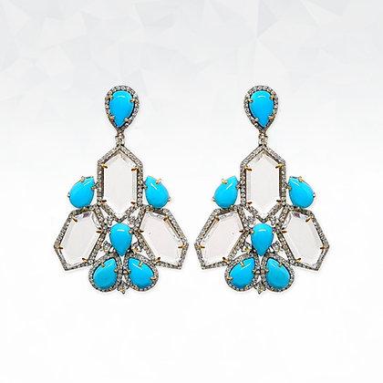 Turquoise and Diamond Dangling Earrings