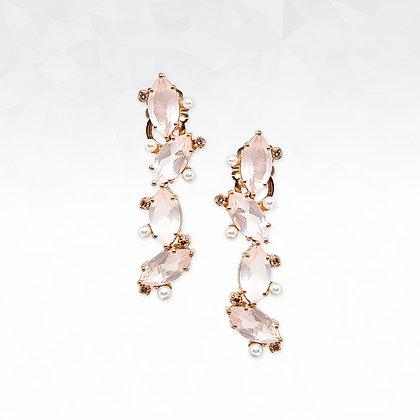 Rose Quartz and Pearl Dangling Earrings