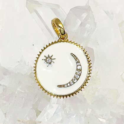 Ivory Crescent and Star Charm