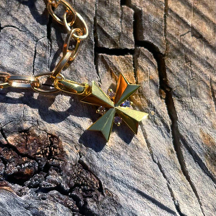 Yellow Gold Maltese Cross Charm